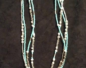 Handmade Southwestern Cross Turquoise Strand Necklace