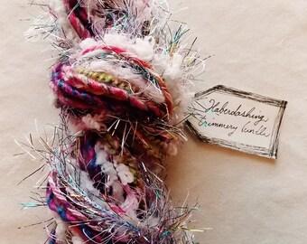 The Good Fairy purple pink green white pom rainbow tinsel trim Novelty Fiber Yarn Sampler Bundle