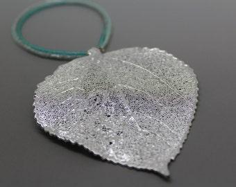 Silver Aspen Leaf Ornament