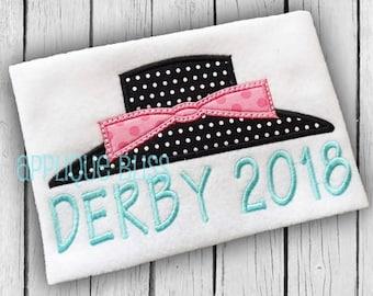 Derby 2018 Applique Design - Horse Racing - Jockey - Derby - Monogram - Machine Embroidery - Kentucky Derby - Derby Hat