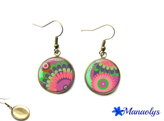 Vintage bronze cabochons earrings glass multicolored patterns 1675