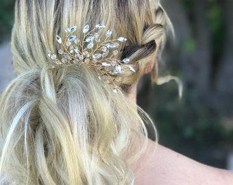 Bridal Hair Comb, Rhinestone Hair Comb, Gold Wedding Hair Accessory, Crystal Hair Comb, Bridesmaid Hair Accessory