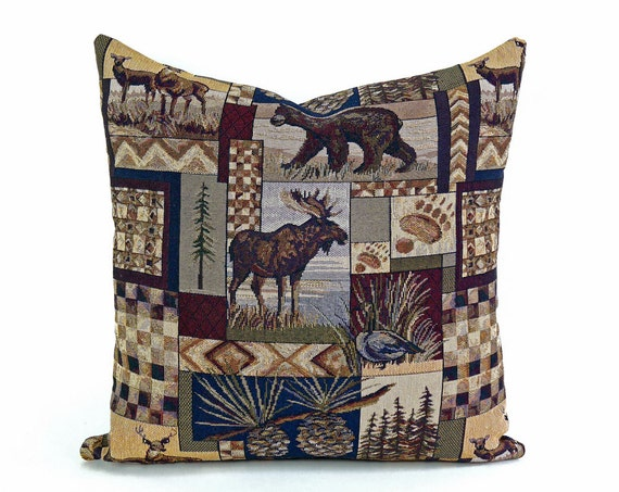 Modern Moose Pillow : Wildlife Pillows Cabin Pillow Moose Pillow Throw Pillow