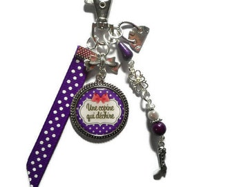 "Bag charm, door keys/girlfriend / ""A friend who rocks"" /les wonders faby/gift"