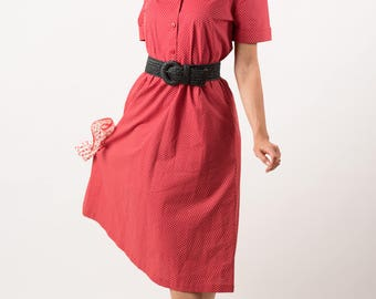 Vintage Strawberry Red Polka Dot Shirt Waist Dress (Size Medium)