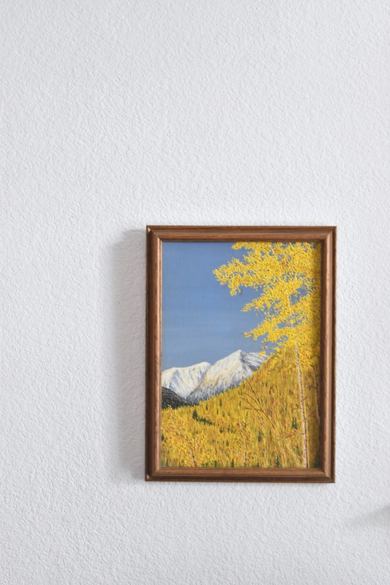 framed original vintage yellow snow covered mountain tree painting