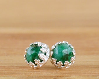 Natural Emerald Stud Earrings, May Birthstone, Green gemstone Posts In Sterling Silver Crown Setting | Ready to ship |