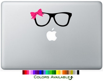 Nerd Glasses with Bow Laptop Decal