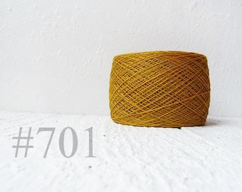 Mustard  Gold linen crochet thread -  laceweight  linen yarn #701