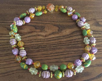 West Germany Lavender, Green, Yellow  and Orange Plastic Beaded Double Strand Necklace 1081