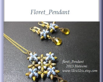 SuperDuo Beading Tutorial instructions patterns- PDF download- Floret/pendant