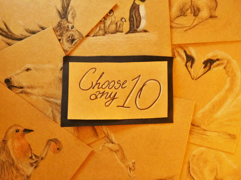 Süße Karten-Set von 10 handgezeichneten Karten