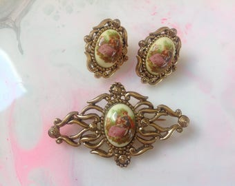 Vintage courting couple brooch and earring set