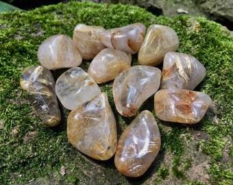 Rutilated Quartz tumbled stones crystals