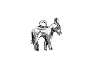 SET of 3 charm silver animal donkey / donkey charm - silver donkey - donkey animal (B32)