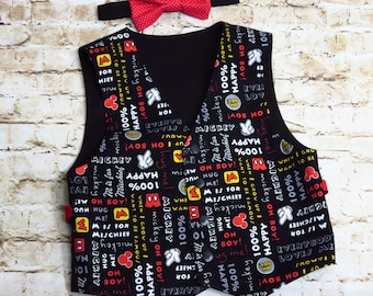 Mickey Mouse Clothing - Boys Vest and Bow Tie - Mickey Mouse Birthday - Toddler Boys Outfit - 1st Birthday Outfit - Bowtie  - 12 mo to 8 yrs