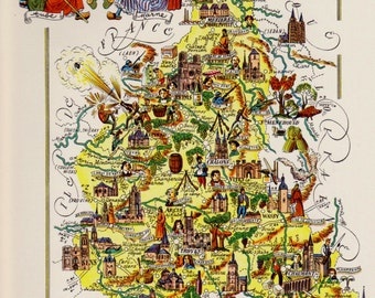FRANCE Picture Map Print CHAMPAGNE Region France Travel Map Gallery Wall Art Gift for Boyfriend Birthday Gift