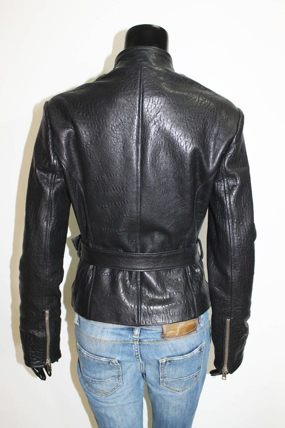 grainy Women lamb biker natural jacket Italian genuine black leather handmade color Bzxqnw7A