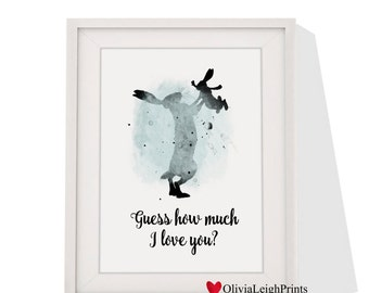 Guess How Much I Love You Word Quote Print-Wall Art-Gift-Nursery