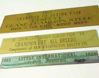 Three Vintage Metal Plates from 1960s & 1970s Livestock Trophies at County Fair, Steer, Ewe, and Judging Trophy Plates