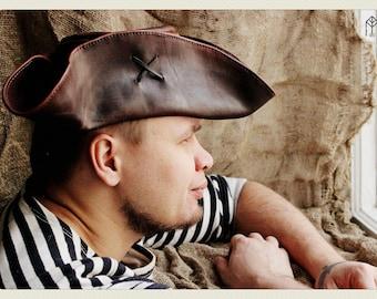 "Leather tricorn hat ""Jack Sparrow"" ver. 3"