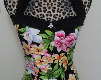 Floral Pinup/ Rockabella Sailor Collar Halter Top Sz. S, M, L, XL