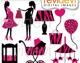 Baby shower clipart sale / Pregnant woman silhouette pink black clipart - Safari Mom To Be commercial use, pram, maternity, pregnancy
