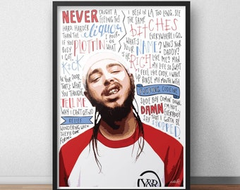 Post Malone quotes / lyrics / print / poster hand drawn type / typography