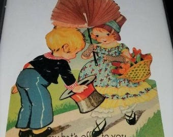 Vintage Antique Valentine Card w/ Honeycomb Couple - so Sweet!