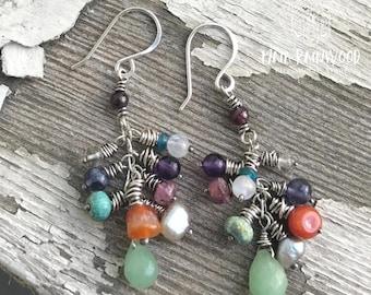 Boho multigemstone cluster drop earrings in sterling silver