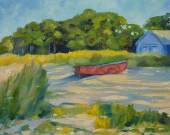 """Original Oil Painting on Canvas. Landscape Painting. Boat painting. Wall art. Contemporary Fine Art. 20x16"""""""