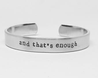 And that's enough: Hand Stamped Aluminum Dear Evan Hansen cuff bracelet by fandomonium