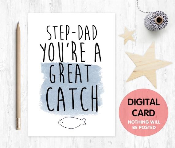 stepdad father's day card printable stepdad thanks card digital download funny stepdad card you're a good catch stepdad printable