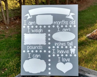Monthly Baby Statistics Sign, Monthly Baby Sign, Baby Stats signs - Dry Erase