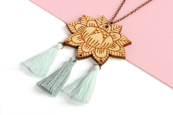 Wooden flower necklace with 3 tassels - light teal and mint - lasercut wood pendant - vegetal jewelry - folk jewellery - floral accessory