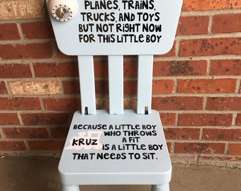 Personalized Toddler Boys Trains Planes Trucks Time Out Chair With working Timer light blue