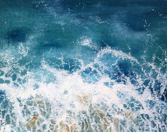"""Original oil painting on canvas-Abstract Ocean 14""""x11"""""""