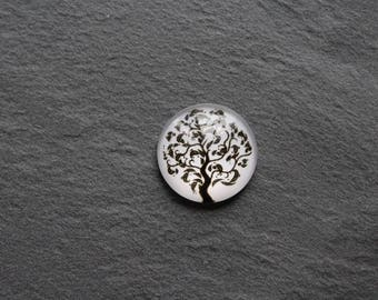 """Cabochon 20 mm glass """"tree of life"""" black and white"""