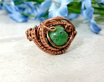 Wire Wrapped Ring Statement Ring Gemstone Ring Boho Rings Boho Jewelry Copper Mens Wire Wrapped Jewelry Gift for Her Fathers Day
