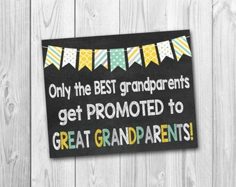 Pregnancy announcement, Only the best grandparents get promoted to  great grandparents, chalkboard sign, photo prop