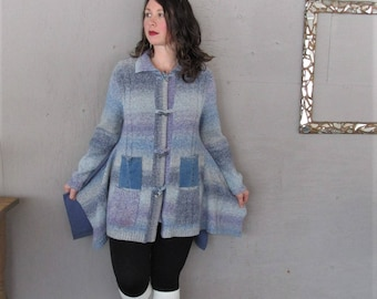 Sale Upcycled Sweater tunic blue Bohemian clothing X Large Wearable Art Lagenlook cardigan reclaimed Boho recycled  LillieNoraDryGoods