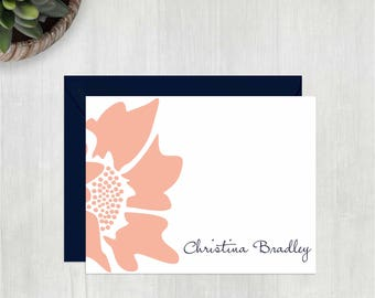 Personalized Thank You Notes • Side Floral {FOLDED} • 10 Note Cards with Envelopes • Personalized Stationery • Personalized Stationary