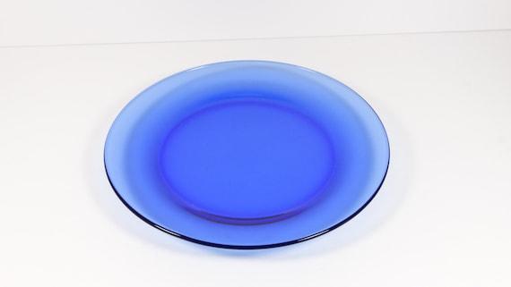 Vintage Cobalt Blue Dinner Plate Blue Glass Dinner Plate