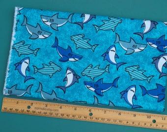 1/2 Yard Novelty Cotton Fabric Packed Sharks