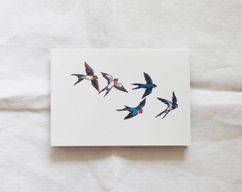 Swallows Watercolor Illustrated Blank Greeting Card