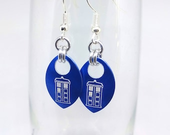 Doctor Who Tardis Aluminum Scale Earrings