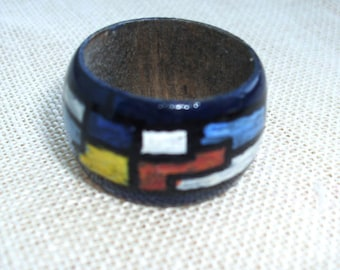 Wooden Ring for Women,Handpainted Ring, Unique Wood Ring,Gift for Her