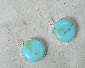 Blue Mohave Turquoise Earrings drop Sterling silver