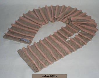Child scarf knit beige / pink shell joke