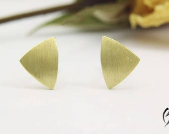 Earrings gold 585/used 7.5 mm, stroke Matt, handmade